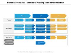 Human Resource Data Transmission Planning Three Months Roadmap Icons