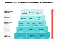 Human Resource Development With Sustainability And Independence Ppt PowerPoint Presentation Infographics Layout PDF
