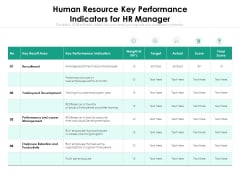 Human Resource Key Performance Indicators For HR Manager Ppt PowerPoint Presentation Gallery Examples PDF