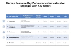 Human Resource Key Performance Indicators For Manager With Key Result Ppt PowerPoint Presentation File Graphics Tutorials PDF