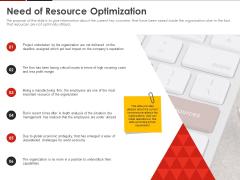 Human Resource Management Need Of Resource Optimization Ppt Slides Background Image PDF