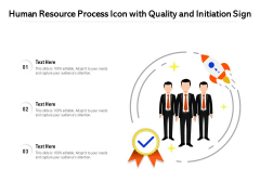 Human Resource Process Icon With Quality And Initiation Sign Ppt PowerPoint Presentation Gallery Smartart PDF