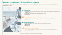 Human Resource Service Shipment Reasons To Implement HR Shared Service Centre Elements PDF