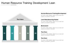 Human Resource Training Development Lean Manufacturing Kaizen Brainstorm Ppt PowerPoint Presentation Icon Graphics