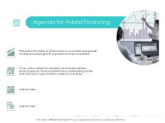Hybrid Investment Pitch Deck Agenda For Hybrid Financing Portrait PDF