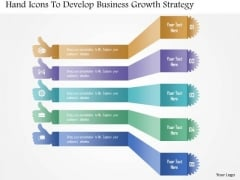 Hand Icons To Develop Business Growth Strategy PowerPoint Template