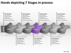 Hands Depicting 7 Stages Process Business Modeling PowerPoint Slides