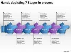Hands Depicting 7 Stages Process Make Flowchart PowerPoint Templates