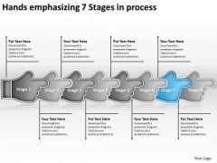 Hands Emphasizing 7 Stages Process Sample Flow Charts PowerPoint Templates