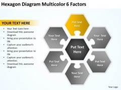 Hexagon Diagram Multicolor 6 Factors Pptbusiness Plans Template PowerPoint Templates