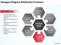 Hexagon Diagram Multicolor 6 Factors Write Business Plan Template Free PowerPoint Slides