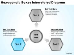 Hexagonal 3 Boxes Interrelated Diagram Business Planning Guide PowerPoint Slides