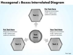 Hexagonal 3 Boxes Interrelated Diagram Business Plans PowerPoint Templates
