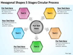 Hexagonal Shapes 5 Stages Circular Process Business Plan For Dummies PowerPoint Slides