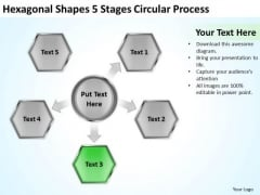 Hexagonal Shapes 5 Stages Circular Process Business Plan PowerPoint Slide