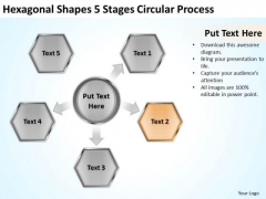 Hexagonal Shapes 5 Stages Circular Process How To Business Plan PowerPoint Slides