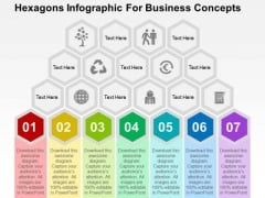 Hexagons Infographic For Business Concepts PowerPoint Template