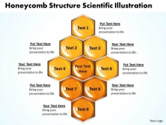 Honeycomb Structure Scientific Illustration Circular Process Chart PowerPoint Templates