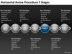 Horizontal Arrow Procedure 7 Stages Business Make Flow Charts PowerPoint Templates