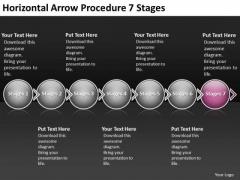 Horizontal Arrow Procedure 7 Stages Flow Chart Program PowerPoint Templates
