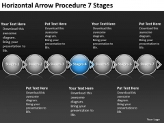 Horizontal Arrow Procedure 7 Stages Make Flow Charts PowerPoint Templates