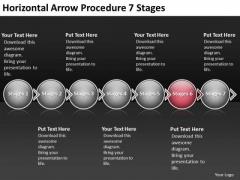 Horizontal Arrow Procedure 7 Stages Ppt Flowchart Creator PowerPoint Templates