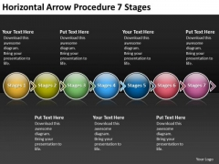 Horizontal Arrow Procedure 7 Stages Process Flow Chart For Manufacturing PowerPoint Slides