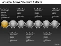 Horizontal Arrow Procedure 7 Stages Schematic Design PowerPoint Templates