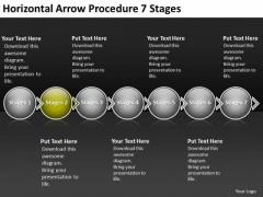 Horizontal Arrow Procedure 7 Stages Wire Schematic PowerPoint Templates
