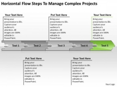 Horizontal Flow Steps To Manage Complex Projects Business Processing Chart PowerPoint Templates