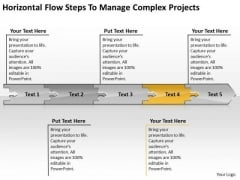 Horizontal Flow Steps To Manage Complex Projects Processing Chart PowerPoint Templates