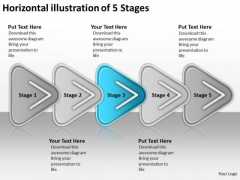 Horizontal Illustration Of 5 Stages Business Order Process Flow Chart PowerPoint Slides