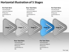 Horizontal Illustration Of 5 Stages Flowchart Order Process Flow Chart PowerPoint Slides