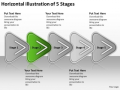Horizontal Illustration Of 5 Stages Order Process Flow Chart PowerPoint Slides
