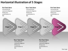 Horizontal Illustration Of 5 Stages Ppt Work Flow Charts PowerPoint Templates