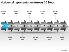 Horizontal Representation Arrows 10 Steps Business Tech Support PowerPoint Slides