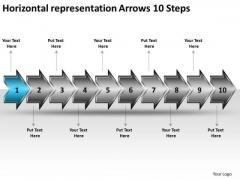 Horizontal Representation Arrows 10 Steps Business Tech Support PowerPoint Slides
