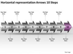 Horizontal Representation Arrows 10 Steps Documentation Flow Chart PowerPoint Templates