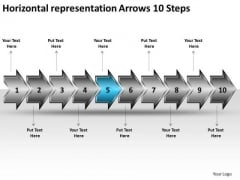 Horizontal Representation Arrows 10 Steps Free Flowchart Slides PowerPoint Templates