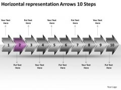 Horizontal Representation Arrows 10 Steps Network Mapping PowerPoint Templates