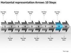 Horizontal Representation Arrows 10 Steps Ppt Manufacturing Flow Chart Symbols PowerPoint Templates