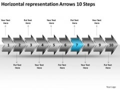 Horizontal Representation Arrows 10 Steps Vision Office Stencils PowerPoint Slides
