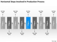Horizontal Steps Involved Production Process Slides Flow Chart PowerPoint Templates