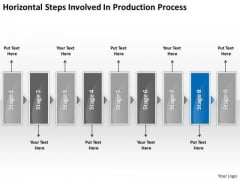 Horizontal Steps Involved Production Processs Business Fishbone Chart PowerPoint Templates