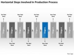 Horizontal Steps Involved Production Processs Business Slides Flow Chart PowerPoint Templates