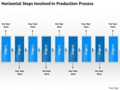 Horizontal Steps Involved Production Processs Vision Office Stencils PowerPoint Templates