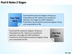 How To Draw Business Process Diagram Post It Notes 2 Stages PowerPoint Slides