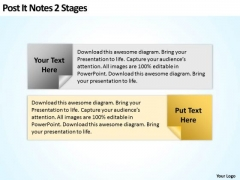 How To Draw Business Process Diagram Post It Notes 2 Stages Ppt PowerPoint Slides