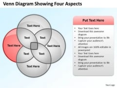 How To Draw Business Process Diagram Venn Showing Four Aspects Ppt 4 PowerPoint Templates