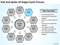 Hub And Spoke 10 Stages Cyclic Process How To Write Business Plan PowerPoint Templates